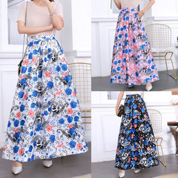 empire cartoons NZ - Pleated Skirt Print Cartoon Pattern Empire Elastic Women Skirt Big Swing Party Holiday high waist skirt plus size street wear