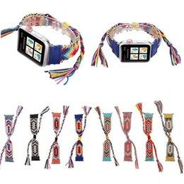 Опт Для Apple Watch 4 3 2 1 Кожаный плетеный металлический ремешок Ремешки Ремешки Богемия Ремешок 38мм 42мм 40мм 44мм Браслеты с бахромой