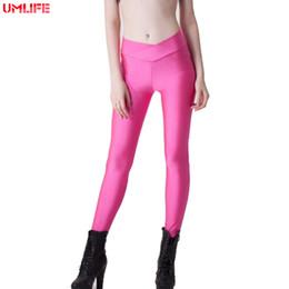66b12887b6515 UMLIFE 2019 Women Candy Color Yoga Pants V-Shape High Waist Neon Shiny  Sport Leggings Fitness Excercise Workout Running Tights