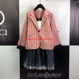 $enCountryForm.capitalKeyWord Australia - set suit Girls kids designer clothing pink striped suit jacket + camisole skirt 2pcs autumn cute princess wind set
