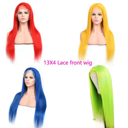swiss hair products NZ - Brazilian Virgin Hair Silky Straight 13X4 Lace Front Wig Colorful Pink Blue Yellow Lace Front Wigs 12-28inch 100% Human Hair Products