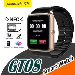 bluetooth smart watch sim Australia - GT08 Bluetooth Smartwatch With SIM Card Slot NFC Health Watches For Android Samsung And Apple iPhone Smartphone Smart Watches With Box
