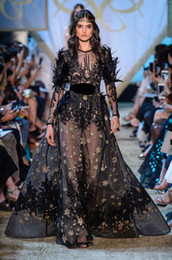 Kardashian Evening Gowns Australia - Evening dress Yousef aljasmi Kim kardashian Black Long sleeve Gold beads Feather Ball gown long dress Zuhair murad Ziadnakad 0012