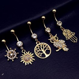 owl buttons Australia - 5pcs 2019 new tree of life sun palm hand owl rudder dangle navel belly bar button rings body piercing jewelry