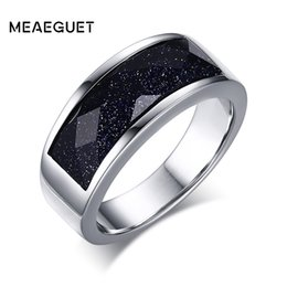 Men Blue Stones Ring Australia - Fashion Jewelry Rings Meaeguet Blue Gravel Stone Wedding Rings For Men Blue Sand Stainless Steel Male Anel Jewelry Gift