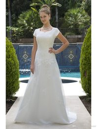modern wedding dresses online 2019 - 2019 Tulle Long Modest Wedding Dresses With Short Sleeves Corset Lace-up Back Country Western Lds Simple Boho Bridal Gow