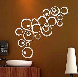 $enCountryForm.capitalKeyWord Australia - New 24pcs set 3D DIY Circles Wall Sticker Decoration Mirror Wall Stickers for TV Background Home Decor Acrylic Decor Wall Art