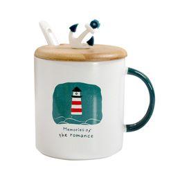 Spoon Mugs UK - New Mediterranean style ceramic mug with lid spoon,cartoon navigation mugs Coffee Cup sailboat Cover Ceramic Milk Breakfast Cup