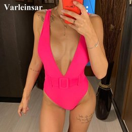 $enCountryForm.capitalKeyWord Australia - New 7 Color One Piece Swimsuit 2019 Women Swimwear Female Bather With Waistband High Waist Bathing Suit Swim Wear Monokini V1309 Y19072501
