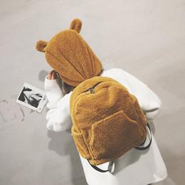 Brown Bear Backpack Australia - Kawaii Cartoon Plush Bear Women Backpacks Personalized Bear Hat Women Schoolbags For Teenage Girls Harajuku Travel Rucksack 2019