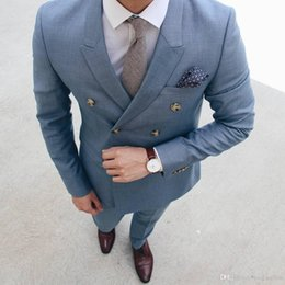 Red Suits For Bridal Australia - Cool Blue Men Suits Tuxedos For Wedding Two Pieces Groom Bridal Suits Custom Made Groomsmen Suits Jacket+Pants
