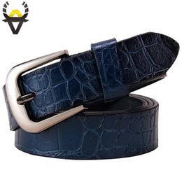 belts Australia - Genuine leather Belts for Women Fashion Pin buckle thin woman belt High quality Second layer cowskin jeans strap female Blue C19010301
