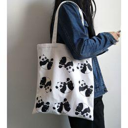 $enCountryForm.capitalKeyWord Australia - Women Canvas Shopping Shoulder Bags Cute Panda Cartoon Printed Eco Reusable Tote Girls Folding Handbags