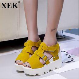 XEK Summer Sandals 2019 Women High Heel Casual Shoes Footwear Flip Flops  Open Toe Platform Gladiator Sandals Women Shoes WFQ74 b2fb0ae0c5aa