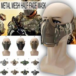 Discount metal mesh half face mask - Bike Cycling Tactical Metal Mesh Half Face Mask for Hunting Game Masks CS Protective Mask