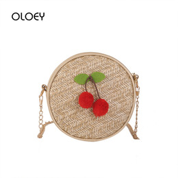 $enCountryForm.capitalKeyWord Australia - Women Straw Handbags Travel Handmade Woven Cherry Round Bag Lady Summer Chain Rattan Beach Bag Circle Bohemia Shoulder Bags