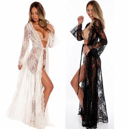 Long sLeeve robes Lingerie online shopping - Lady Women s Lace Sexy Lingerie Nightdress Sleepwear Bathrobes Long Gown Kimono Mesh Sheer See through Robe Nightwear