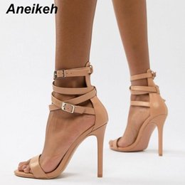 $enCountryForm.capitalKeyWord Canada - Aneikeh New Fashionable Sexy Design Women Gladiator Style Buckle Thin High Heels Black Pu Open Toe Dress Sandals Y19070203