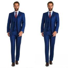 $enCountryForm.capitalKeyWord Australia - Cheap Three Piece Blue Wedding Tuxedos Slim Style Mens Suits For Wedding Prom Evening Free shipping (Jacket+Pants+Vest)