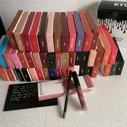 Lip gLoss 24 coLor online shopping - 48 Colors Kylie koko lip gloss lip gloss with lip liner set matte non stick cup lipstick