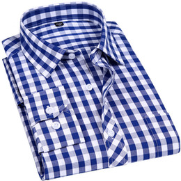 Men Cotton Business Shirts Australia - 2019 New Men Casual Plaid Shirt High Quality 100% Cotton Long Sleeve Male Shirts Square Grid Social Business Casual Shirt Y190506