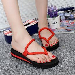 men platform slip 2019 - 2019 New Women Summer Non-slip Platform Shoes Beach Flip Flops Anti-slip Open Toe Slippers sapato feminino discount men