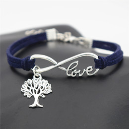 Tree Love Bracelets Australia - Vintage Single Layer Dark Navy Leather Suede Jewelry Men Women Braided Handmade Infinity Love Christmas Tree Of Life Wrap Bracelet & Bangles