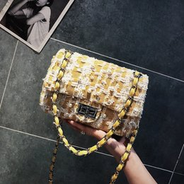 Hand Bags Flowers NZ - INS 2019 New Fashion Korean Fashion Makeup Toiletry Bag Soft Wool Flower Pearl Quality Chain Casual Hand Bag Bolsos Mujer