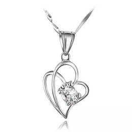 $enCountryForm.capitalKeyWord Australia - New High-grade Austria Crystal Love To Love Diamond 925 sterling silver Plated Pendant Necklace For Wedding Dress Sets