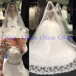 $enCountryForm.capitalKeyWord Australia - Fabulous Long Sleeve Lace Court Train Bridal Gown Jewel Neck Covered Button Appliques Beads Sash Plus Size Wedding Dresses robes de mariée s