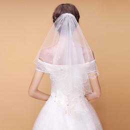 0a637bb61f Los más vendidos 2019 perlas de tul velos de novia cortos Ribete Blanco  Marfil 1 capas Velos de novia Accesorios de novia