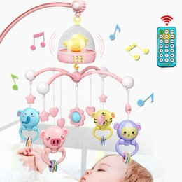 Baby Rattle Box Australia - Baby Crib Mobile With Remote Controll Music Box Night Light Rotate Newborn Sleeping Bed Toys Infant Rattle Q190604