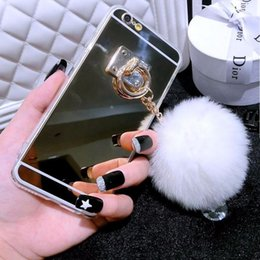 Phone Chain For Iphone Australia - Luxury Phone Case For Iphone XS MAX XR 8 7 6 6S Plus Pearl Chain Rabbit Fur Ball Mirror Soft TPU Back Cover Cases For iPhone 7
