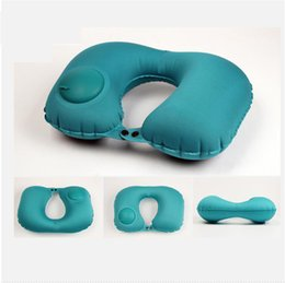 Travel Rest Inflatable Pillow Australia - Portable U Shaped Inflatable Travel Neck Pillow Automatic Motorcycle Car Head Rest Air Cushion Headrest Pillow Accessories