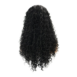 replacement hair NZ - Afro Kinky Wavy Hair Replacement Wigs Natural Black Long Water Wave Lace Frontal Wigs for African American Women