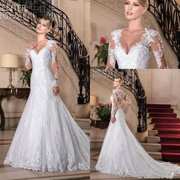 EmbroidEry 3d online shopping - 2020 Gorgeous Vestidos De Noiva Full Lace Mermaid Wedding Dresses V Neck Court Train Long Sleeves Illusion Beach Wedding Gowns