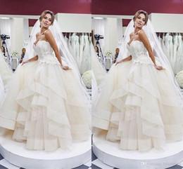 $enCountryForm.capitalKeyWord Australia - Organza Ball Gown Wedding Dresses Ruffles Layered Strapless Lace Bridal Dresses Garden Wedding Gowns ustom Made