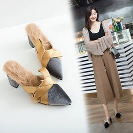 $enCountryForm.capitalKeyWord Australia - silk riband bow velvet mules shoes women real rabbit hair thick heel slippers woman pointed toe lazy shoes women pantufa winter