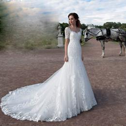 Organza Mermaid Wedding Dress Feathers Australia - Eslieb Sweetheart lace mermaid wedding dresses Cap Sleeves Wedding dress 2019 Bridal Dresses Vestido de Noiva