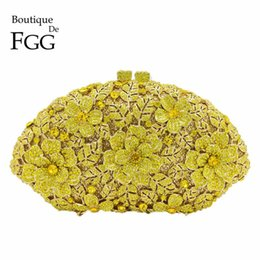 Wholesale Bridal Wedding Yellow Flower Clutch Crystal Bags HardCase Metal Gold Women Evening Clutches Party Cocktail Dinner Minaudiere Bag