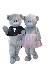 black white movie costume UK - Wedding Teddy bear mascot costumes Teddy bear tailsman doll costumes for Halloween Carival party event
