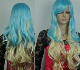 Blonde hair Blue extensions online shopping - 00962 blue and light blonde mix long curly Cosplay full wig