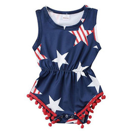 Wholesale prussian clothing for sale – custom Newborn Baby Clothes American Flag Independence National Day USA th July Star Jumpsuit Striped Sleeveless Rompers Print Onesies