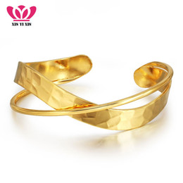 ladies bangle simple Australia - Vintage Wide Cuff Bracelets & Bangles Golden Plated Real Copper Pulseras Fashion Simple Design Ladies Bangle Wholesale Jewelry