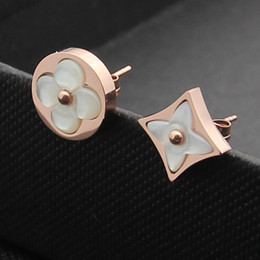 Pink heart stick online shopping - Hot sale L Titanium steel cm round Stud Earring with pink and grey and white agate women brand gift jewelery PS5670