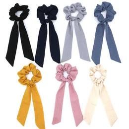 $enCountryForm.capitalKeyWord Australia - 20pcs lot Bohemian Polka Dot Floral Printed Ribbon Bow Scrunchies Womens Elastic Hair Bands Scarf Rope Ties Girls Hair Accessories
