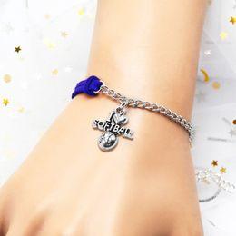 $enCountryForm.capitalKeyWord Australia - Vintage Braided Casual Royal Blue Leather Suede Chain Bracelets Charm I Heart Softball Sports Team Wrap Bangles Women Men Wholesale Jewelry