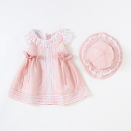 newborn baby girl princess clothing NZ - Vlinder Girl Baby Clothes Summer Princess Style Cute Bow Tie Dress Newborn Short Sleeves Infant Dresses 2pcs Set Q190518