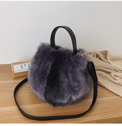 hot pink buckets Australia - Winter Plush Bucket Bags For Women 2019 Fashion Female Shoulder Messenger Bag Hot Ins Faux Fur Lady Phone Handbags and Purses