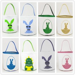 easter egg prints NZ - Easter Bunny Basket Cute Printed Easter Buckets kids Lucky Egg Baskets Child Candy Bags Holiday Fashion Kid Handbag Toy Storage Bags WY520EQ